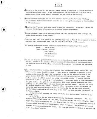 Clute WI Tweedsmuir Community History, 1991-99