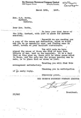 Mattawa WI Cenotaph Letter, 1927