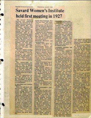 Savard WI Tweedsmuir Community History, Volume 1