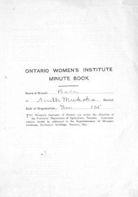 Bala WI Minute Book, 1915-20