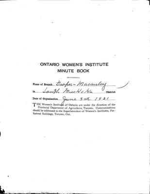 Draper-Macaulay WI Minute Book, 1921-25