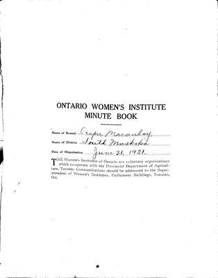 Draper-Macaulay WI Minute Book, 1930-39