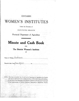 Cochrane District Minute Book, 1927-30