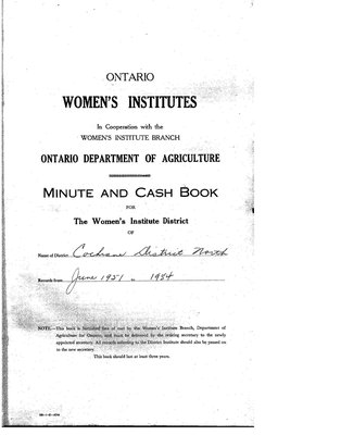 Cochrane District Minute Book, 1948-50