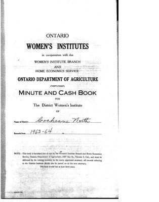Cochrane District Minute Book, 1964-67