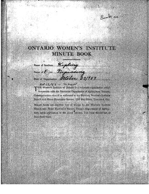 Kipling Women's Institute Minute book, 1953-61