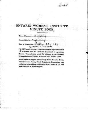 Kipling Women's Institute Minute Book, 1965-68