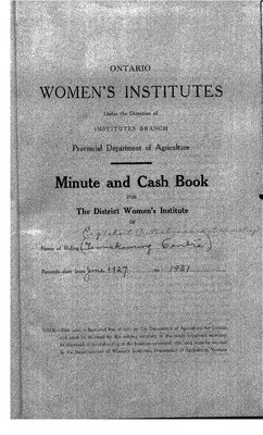 Temiskaming Centre District WI Minute Book, 1927-31