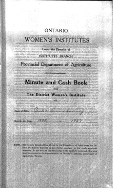 Temiskaming Centre District WI Minute Book, 1932-37