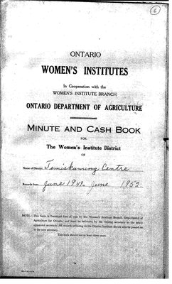 Temiskaming Centre District WI Minute Book, 1949-52