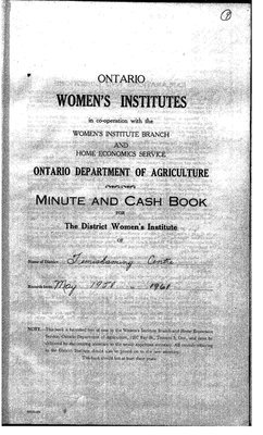 Temiskaming Centre District WI Minute Book, 1958-61