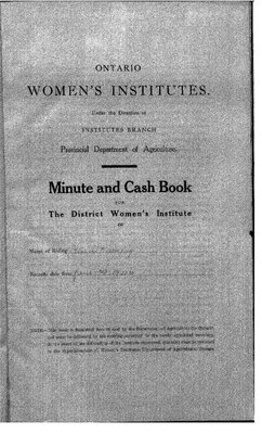 Temiskaming District WI Minute Book, 1920-24