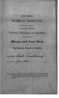 Temiskaming South District WI Minute Book, 1935-38