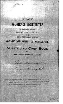Temiskaming South District WI Minute Book, 1956-60