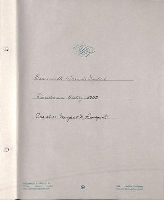 Beamsville WI Tweedsmuir Community History, Volume 11, 2003