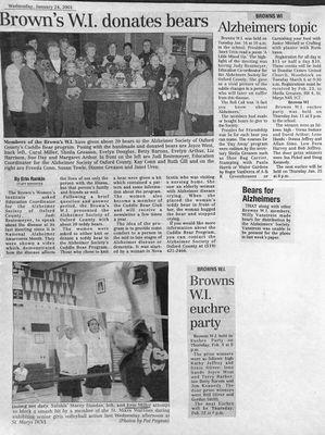 Browns WI Tweedsmuir Community History, 2001-2002