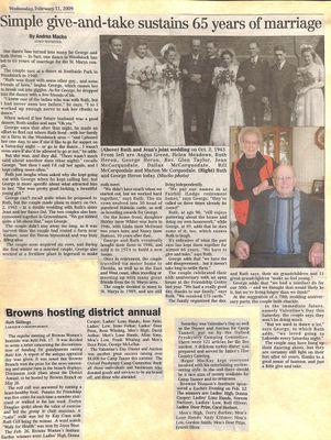 Browns WI Tweedsmuir Community History, 2009-2011