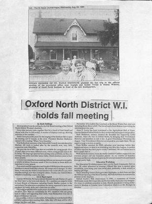 Browns WI Tweedsmuir Community History, 1994-1997
