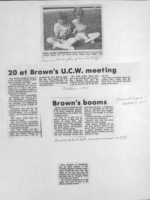 Browns WI Tweedsmuir Community History, 1985-1986