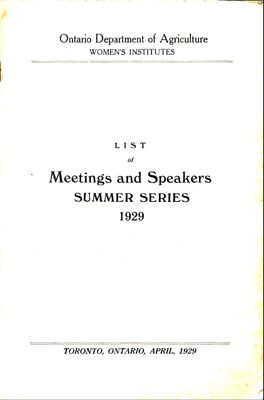 List of Meetings and Speakers SUMMER SERIES 1929