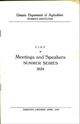 List of Meetings and Speakers SUMMER SERIES 1930