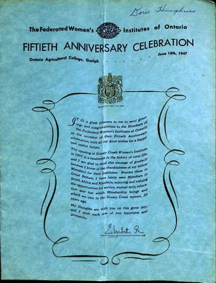 FWIO 50th Anniversary Celebration Programme, 1947