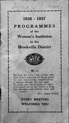 Brockville District WI Programme Book, 1936-1937