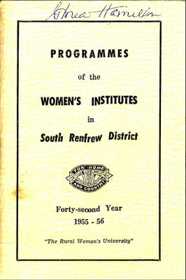 Renfrew South District WI Programs, 1955-56