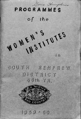 Renfrew South District WI Programs, 1959-60