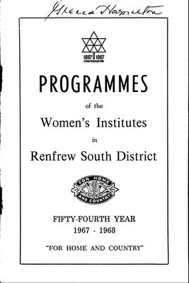 Renfrew South District WI Programs, 1967-68