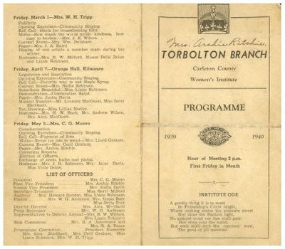 Torbolton WI Program Book 1939-40