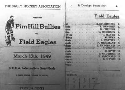 Billet de joute de hockey, Field, ON / Hockey game ticket, Field, ON
