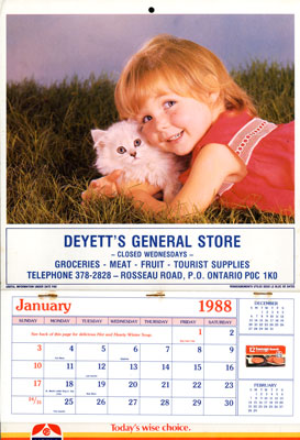 Deyette's General Store Calendar - 1988