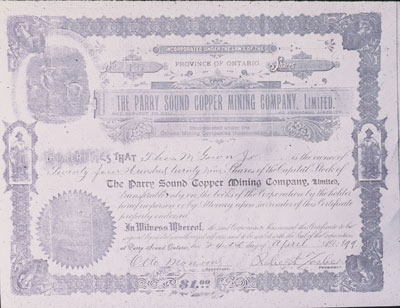 Parry Sound Mining Company Certificate of Shares