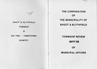 The Corporation of the Municipality of Bagot & Blythfield: Township Review 1977-78 of Municipal Affairs