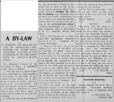 Bagot & Blythfield - By-Law - 1911