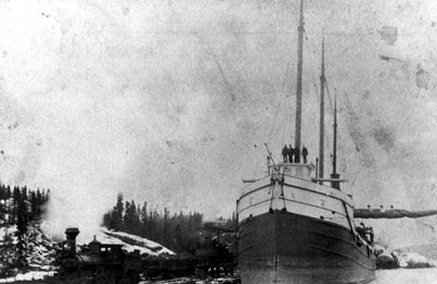 Steamer at Heron Bay (~1889)