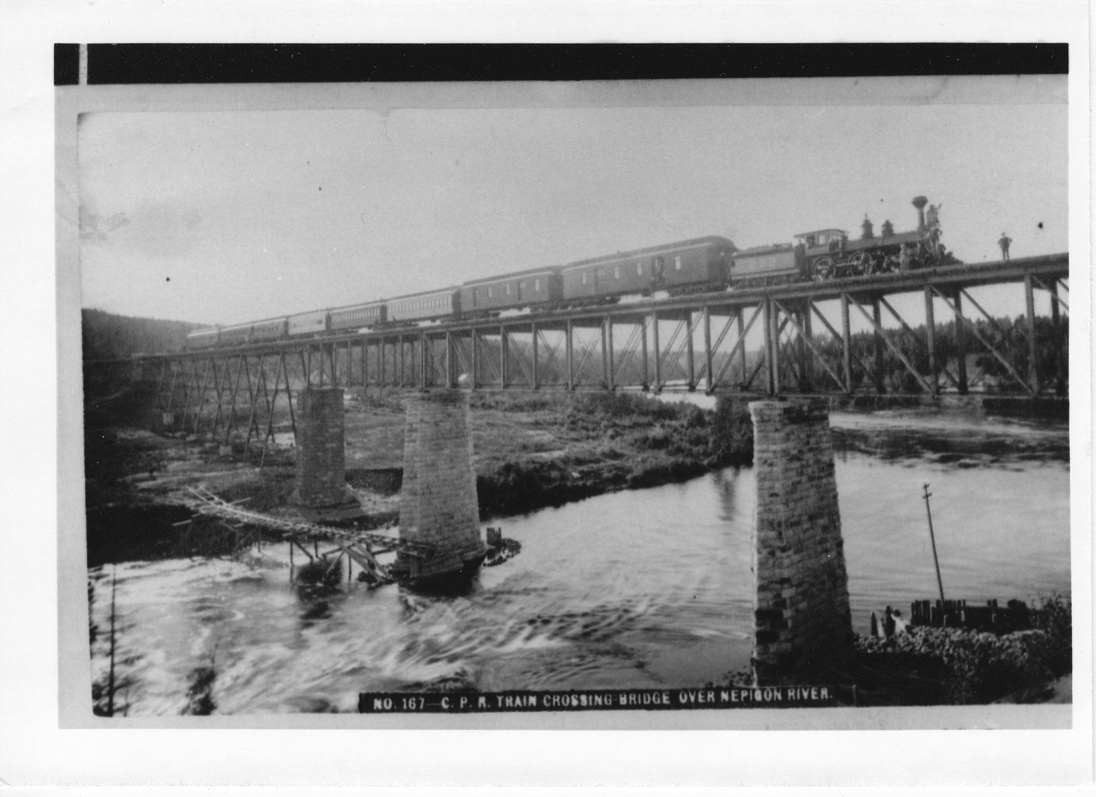 C.P.R. train crossing bridge