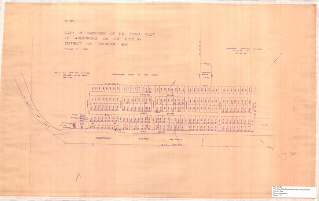 Subdivision of the Town Plot of Armstrong : District of Thunder Bay