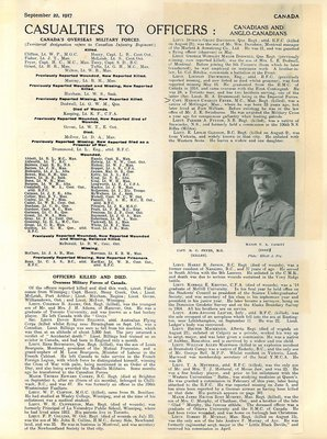 Casualties to Officers Article