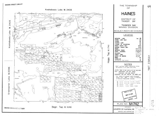 The Township of Haines : District of Thunder Bay