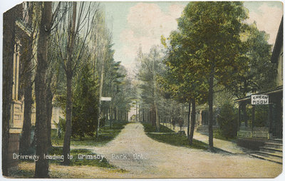 Driveway to Grimsby Park, Ont., postcard