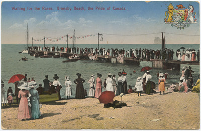 An illustration of Grimsby Beach, crowded with people, waiting for canoes and swimmers in the water to start racing