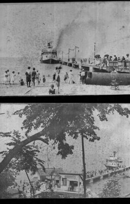 Pier and Bathers, Two Photo Negatives