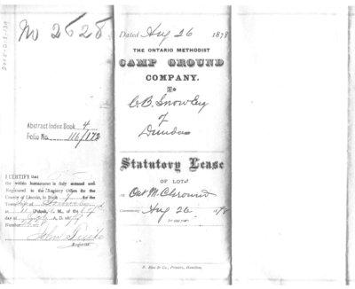 Statutory Lease to C.B. Snow, Esq of Dundas, 1878