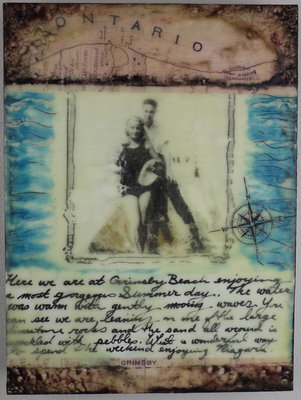 Michelle van Nie, Grimsby Beach Romance, Encaustic & Mixed Media.