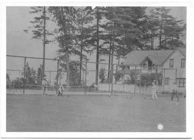 Tennis court and Lawn bowling where Lakeview Hotel once was