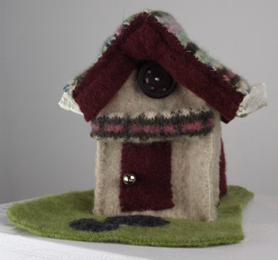 Cottage, 2013, Felted Sweaters, Buttons, and Lace.