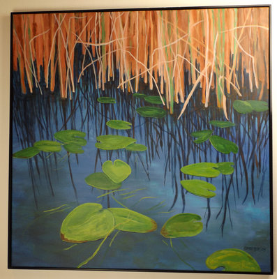Owen Masters, Marsh Pond, Acrylic on Canvas.