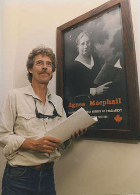 Clark Rogers with Agnes Macphail poster